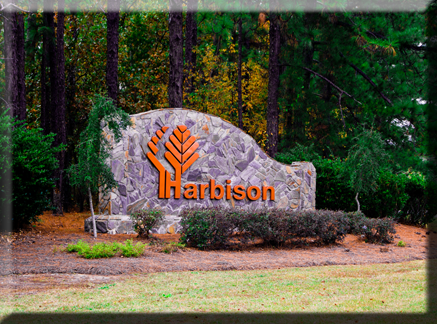 Harbison Neighborhood Sign on Rock